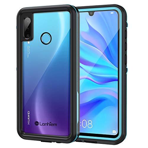 Lanhiem für Huawei P30 Lite Hülle, Handyhülle Huawei P30 Lite IP68 Wasserdicht Handyhülle 360 Grad Schutzhülle, Stoßfest Staubdicht Outdoor Panzerhülle mit Eingebautem Bildschirmschutz, Blau