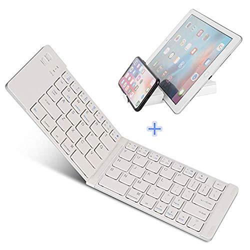 Opvouwbaar toetsenbord compatibel voor iPhones, iPads, Android-apparaten en Windows, volledig formaat Bluetooth draagbaar toetsenbord (11.5 inch) met behuizing en standaard