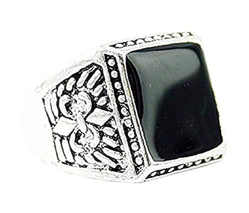Zilverkleurige ring met zwarte steen - cadeau-idee