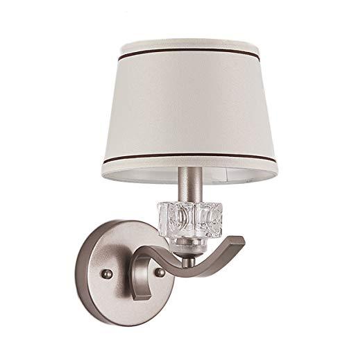 VOMI Apliques de Pared Interior Moderno E14 Metal Sencillez Cristal Lámpara de Pared Pantalla de Tela, Lámpara de Lectura de Cabecera para Sala Corredor Cuarto Estudiar(No incluye bombilla)