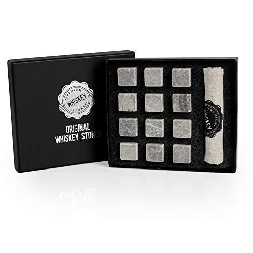 Whisky-Steine in Premiumqualität, Würfel für Whiskey-Getränke, 100{9e02e0fb53bf4f8fa53e10fddd329251457a34670a880fa19c90ee5079661ed8} natürlicher Marmor, Geschenkset, in Samtbeutel, 12 Stück Black Gift Box (Grau)