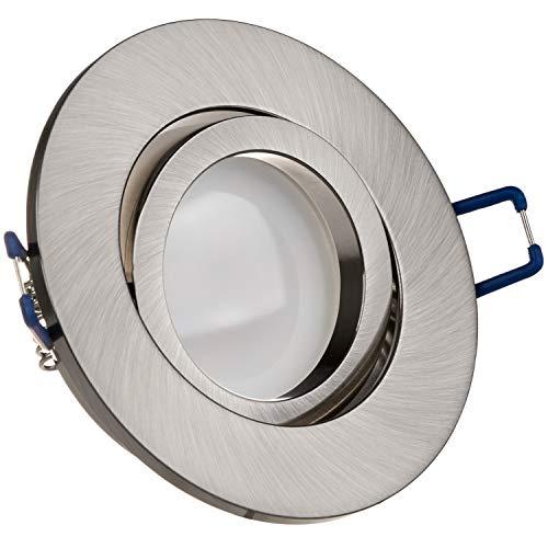 LEDANDO LED Spanndecken Einbaustrahler Set Silber gebürstet 5W DIMMBAR GU10 Deckenstrahler - Spots - Deckspot - 230