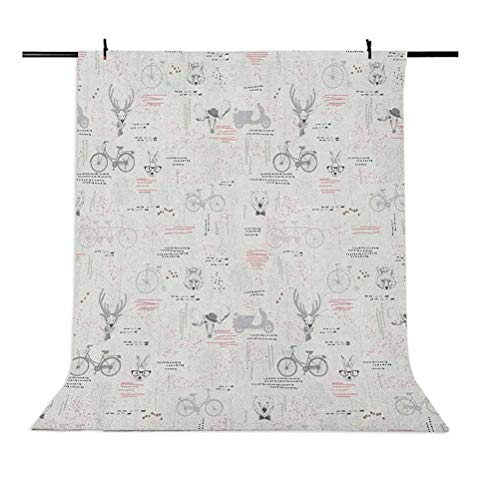 6x9 FT Indie Vinyl Photography Backdrop,Minimalist Pattern with Trees Foliage Deer Rabbit Fox Bear Figures Background for Baby Birthday Party Wedding Studio Props Photography
