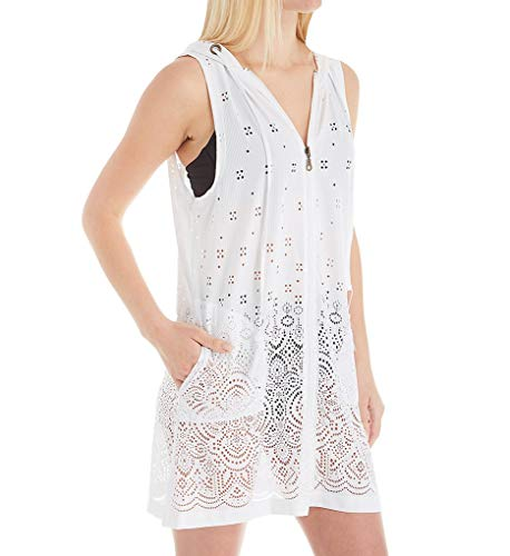 Dotti Women's Wovens Zip-Front Laser Cutout Hoodie Tunic Swim Cover Up White XL