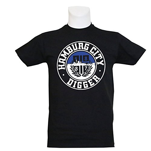 1887  Streetwear T-Shirt Hamburg City Digger, Schwarz