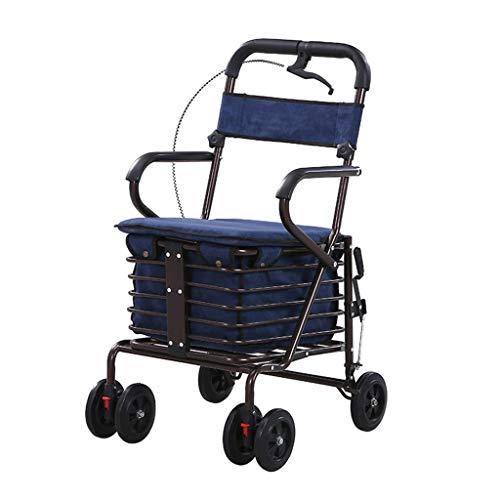LIXBB YANGLOU-Carro de Compras- Pulso Pulso Pulso Pushing Scooter Multifuncional Viejo CARRERO DE Compras DE Compras (Color: Rojo) / ZDGWC-15 (Color : Blue)
