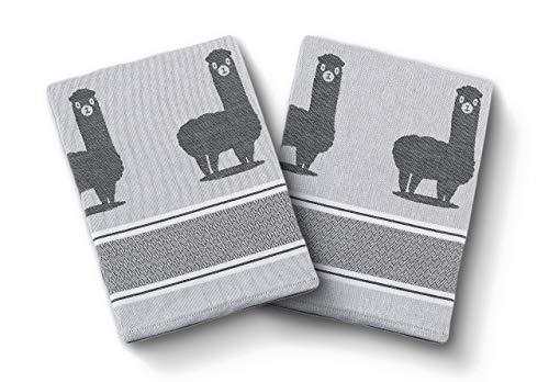 saewelo 2er-Set Geschirrtücher in Geschenkverpackung | 50 x 70 cm | 100% Baumwolle | Küchentücher | Trockentücher | Baumwolltücher (Alpaka, Grau)