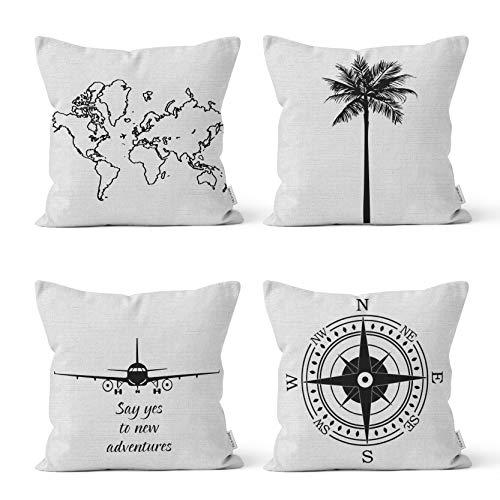 Valia Home Lot de 4 housses de coussin décoratives en coton - Noir et blanc - 45 x 45 cm