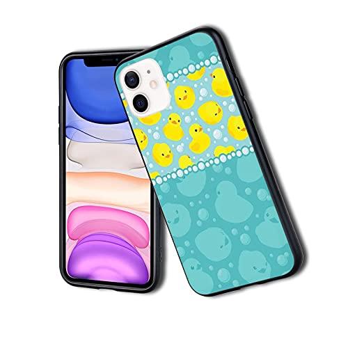 Custodia protettiva ibrida per telefono alla moda, elegante, sottile, antiurto, con motivo a paperelle di cartoni animati gialli, con divertenti bolle d'acqua, adatta per iPhone 11Pro Max