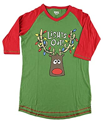 Lazy One Christmas Pajama Shirt for Women l Fun Animal Lights Out Tall Tee M from