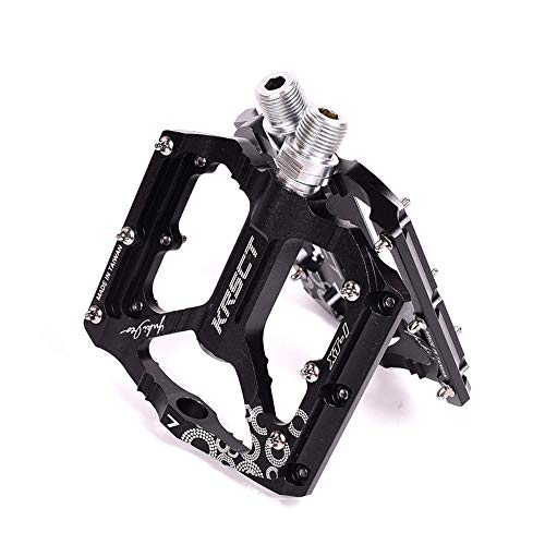 Bike Pedals, Aluminum DU Bearing Bicycle Pedals, Lightweight Platform Pedals for BMX 9/16 Non-Slip Lightweight Aluminum Alloy Off Road Bicycle,Black