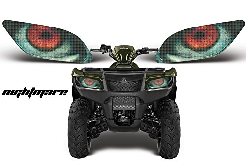 AMR Racing ATV Headlight Eye Graphics Decal Cover Compatible with Suzuki King Quad 500 AXi 2013-2015 - Nightmare