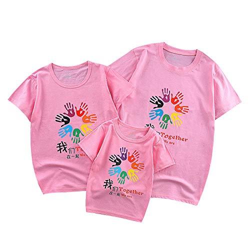 SANDA T-Shirt Hombre,Ropa de Verano para Padres e Hijos 2021 Nuevo algodón Ropa para Madre y Mujer Padre e Hijo Familia Familia de Tres Parejas Camiseta de Manga corta-Y16-rosa-_90/4