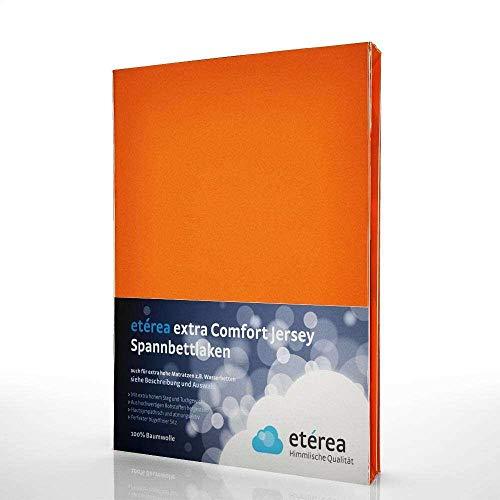 etérea Extra Jersey Topper Baumwolle Spannbettlaken Spannbetttuch Farbe Orange, in der Größe 140x200-160x220 cm