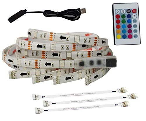 """USB LED Light Strip LED TV Luz de fondo TV Kits de retroiluminación LED para 65-70""""HDTV plana RGB Multi Color LED Tira de luz Control remoto Kits de iluminación de cine en casa 4 tiras en 1 juego"""