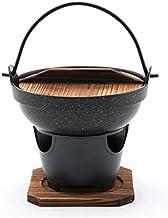 Hinomaru Collection Japanese Style Single Serving Shabu Shabu Hot Pot Sukiyaki Irori Nabe Pot with Wooden Lid and Cooking ...