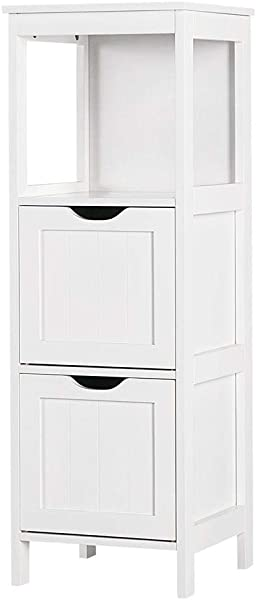 Yaheetech Bathroom Storage Cabinet Wooden Floor Cabinet With 2 Drawers Multifunctional Organizer Rack Stand White