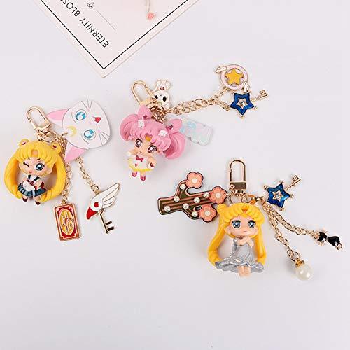 SGOT Anime Sailor Moon Schlüsselanhänger, PVC Sailor Moon Figur, Keychains Schlüsselanhänger Dekoration für Anime Lover(3 STK)