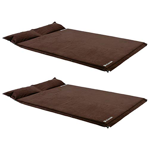 Hilander(ハイランダー) スエードインフレーターマット(枕付きタイプ) 5.0cm【お得な2点セット】 シングル+ダブル ブラウン キャンプマット