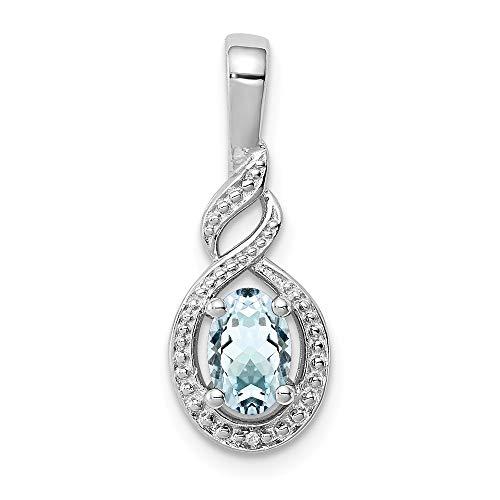Broche de plata de ley aguamarina y lámpara de techo de diamante - JewelryWeb