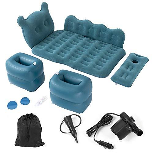 Colchón hinchable multifuncional plegable para coche, con bomba de inflado, PVC + flocado, para viajes, camping, hierba de playa al aire libre, 125 x 75 cm, azul marino