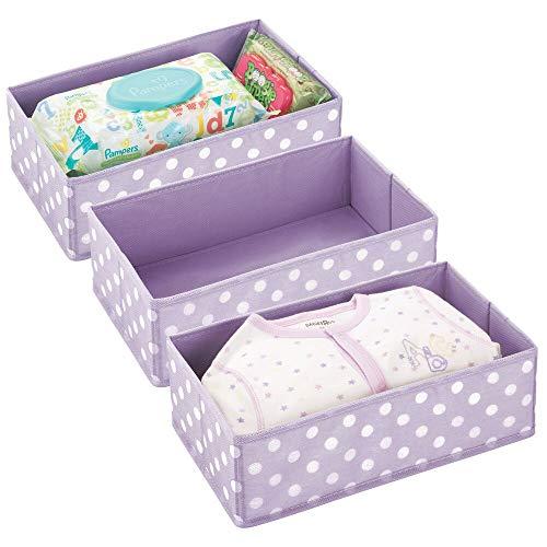 mDesign - Lade-organizer - voor kinder-/babykamers - voor ladekasten en kledingkasten - ruim/open/rechthoekig/zacht/stof - blauweregen/wit - per 3 stuks verpakt