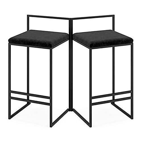 WANGFENG Juego de 2 taburetes de Bar, Muebles de Bar para el hogar, sillas de Bar Modernas con reposapiés, Respaldo...