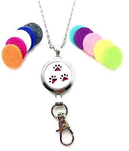 Stainless Steel Paw Print Aromatherapy ID Badge Holder Lanyard Necklace