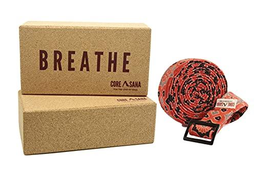 Bloques de corcho para yoga, paquete de 2 con correa   Bloque de yoga ligero de corcho y correa   Soporte de ladrillo y cinturón de yoga para pilates, meditación (respiración)