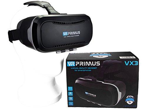 VR Primus® VX3 VR Brille, kompatibel mit iPhone und Android Handy 's bis 5.8 Zoll z.B. iPhone SE 6 6s 7 8 X XS, Samsung Galaxy S6 S7 S8 S9, Huawei p10 p20,LG G6, HTC, Pixel. Mit Google Cardboard Apps