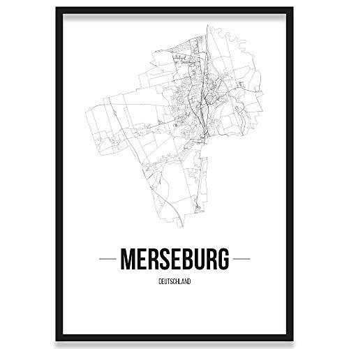 JUNIWORDS Stadtposter, Merseburg, Wähle eine Größe, 40 x 60 cm, Poster mit Rahmen, Schrift B, Weiß