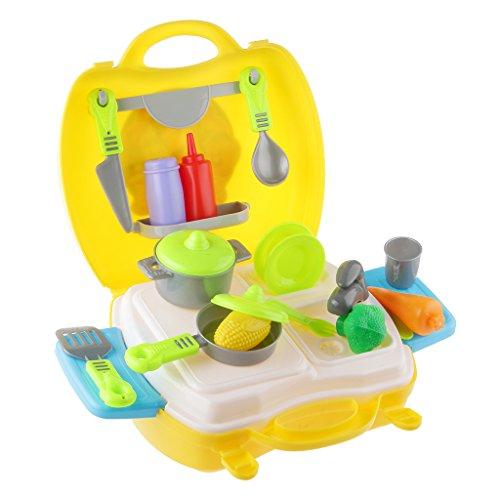 Gazechimp 26pcs Articles De Cuisine Fruits Vegtable Playset Enfants Prétend Rôle Jouer Jouet -Jaune