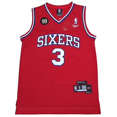 KKSY Herren Trikot Philadelphia 76ers 3# Allen Iverson Jerseys Atmungsaktives Basketball Tricot,D,XL