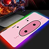 Gaming Mouse Pads Kawaii Pink Pig Cute Cartoon Anime RGB Gaming Mouse Mat Glowing LED Table Mat Big Gamer Mat Extended Non-Slip Rubber Mouse Pad XL