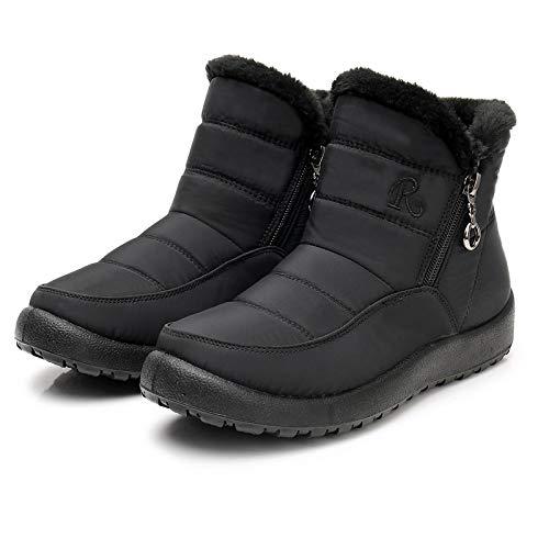 Damen Winterschuhe Schneestiefel Winterstiefel Baumwollschuhe, Verdickte Plüsch Wasserdichte Kurzer Boot Warm Halten Stiefel Schuhe mit weichem Boden und Seitlicher Reißverschluss