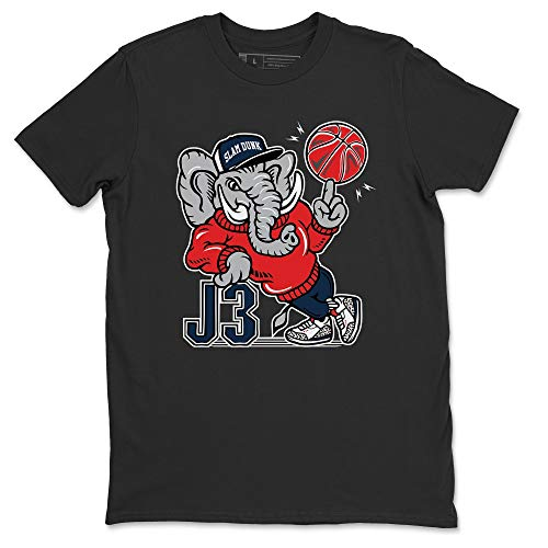 AJ3 Elephant Black T-Shirt Jordan 3 True Blue Sneaker Outfit - AJ3 Matching Top (Black / 3X-Large)