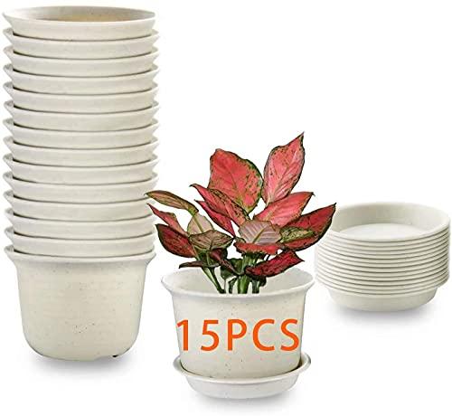 15PCS Vasi per piante da interno, vasi per fioriera in plastica da 15cm con piattino, vaso da giardino per vivaio con foro di drenaggio e vassoio per fiori, erbe, piante grasse, cactus - grigio