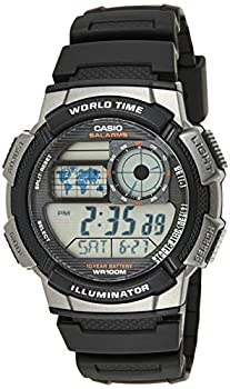 Casio Men s AE1000W-1BVCF Silver-Tone and Black Digital Sport Watch with Black Resin Band