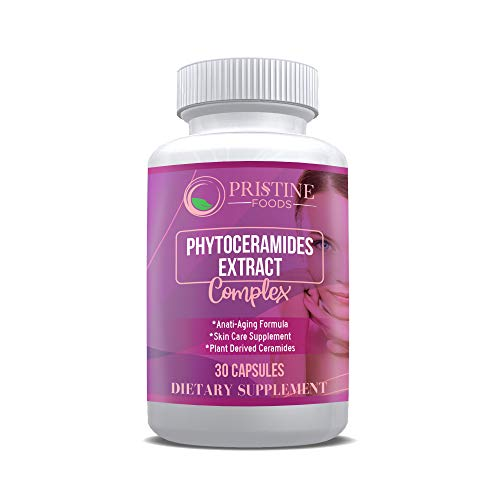 Pristine Foods Phytoceramides Skin Therapy Supplement 30 Capsules 100% Rice Based 100% Natural Vegetarian Capsules 100% DV of Vitamin A,C,D & E with No Fillers or Artificial Ingredients