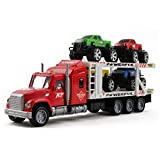 Vokodo Friction Powered Toy Semi Truck Trailer 14.5' With Four Lifted Pickup Cars Kids Push And Go Big Rig Carrier 1:32 Scale Auto Transporter Semi-Truck Play Vehicle Great Gift For Children Boys Girl