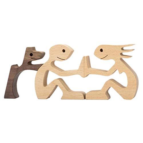 perfeciti Familie & Welpe Holzhandwerk Skulptur Desktop Holzschnitzerei Ornamente Wohnkultur Kreative Geschenke Für Männer Frauen Jungen Und Mädchen Alte Menschen