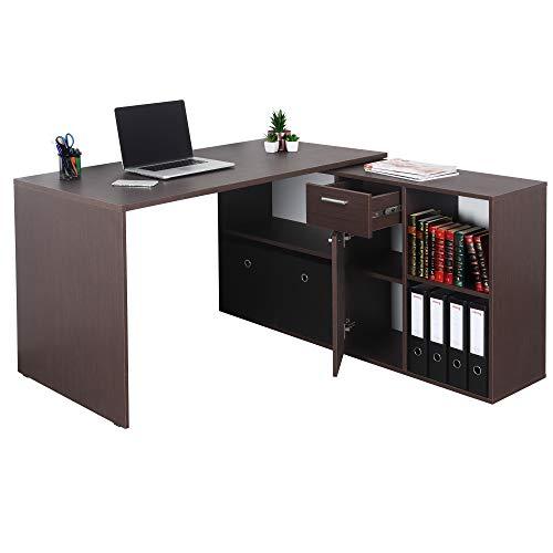 RICOO Eck-Schreibtisch Arbeitstisch Winkel-Kombination Bürotisch (WM081-FM) Computer-Tisch (Flexibel 90-180°) Holz Braun mit Regal Akten-Schrank Low-Board