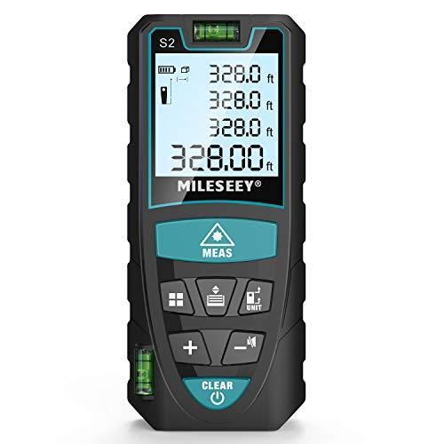 Laser Entfernungsmesser, Mileseey 100m Distanzmessgerät mit 2 Blasenebenen & LCD Hintergrundbeleuchtung m/in/ft/ft+in von Multimessmodus Pythagoras, Fläche, Volumen Automatische Berechnung, IP54 - S2
