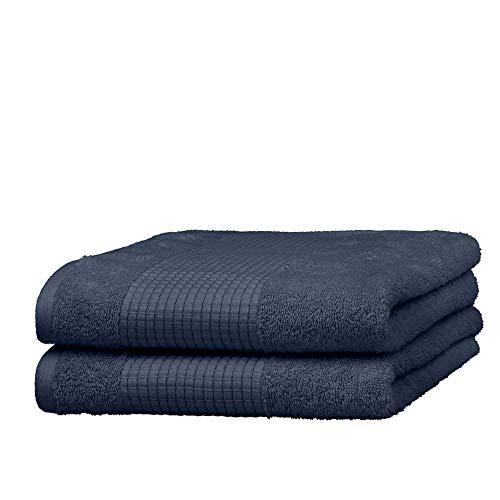 Merana Juego de toallas de mano | absorbente, suave y sin pelusas | toalla de invitados de rizo de calidad de algodón orgánico pesado, 590 GSM (Pacific Blue, 2 toallas de mano (50 x 100 cm)