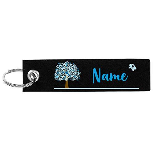 Herz & Heim® Schlüsselanhänger aus Filz mit Aufdruck Ihres Namens und Lebensbaum Schwarz Blau