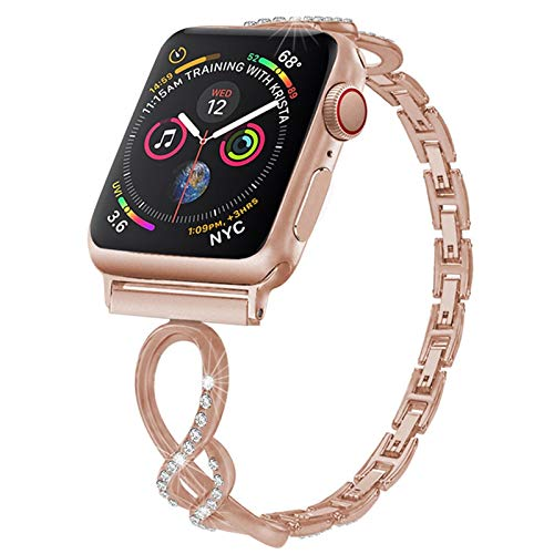 CGGA Mujeres Diamante Banda for Apple Correa de Reloj de 38 42 mm for la Venda de Reloj de Apple 44mm 42mm Fino Cierre for IWATCH Servicios 6/5/4/3/2/1 (Band Color : Rose Gold, Size : 38mm)