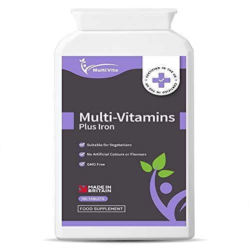 Multivitamins with Iron 180 One A Day Tablets - 13 Essential Vitamins & Minerals for Men and Women - Vitamins A, B1, B2, B3, B5, B6, B9, B12, C, D, E & More - 6 Months Supply, UK Made to GMP Standards