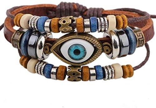1 Set Braided Leather Bracelets for Men Women Cuff Wrap Bracelet Chakra Tiger Eye Stone Wood Beads Bracelet Multilayered Boho Bracelets Beads Hemp Faux Leather Wristbands Punk Adjustable