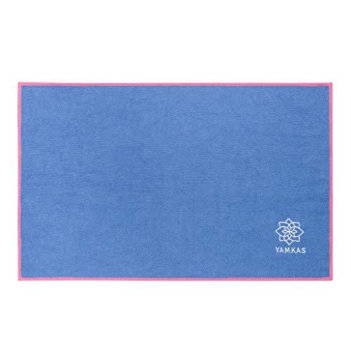 Yamkas Toalla de Microfibra • 61 x 35 cm • Compacta • Ultraligera y de Secado rápido Super Absorbente • Ideal para Yoga Pilates Deportiva • Microfiber Towel • Azul