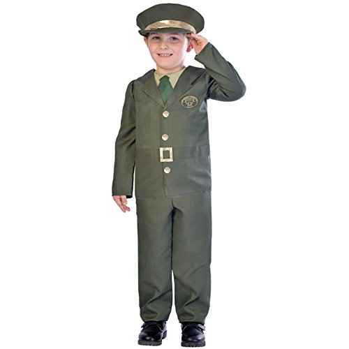 amscan 9903600 - Disfraz de soldado de la Segunda Guerra Mundial con gorro de plata (7-8 aos)